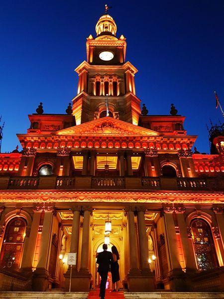 Sydney Townhall at night Architecture Travel Destinations Tourism Façade City Sky Government Travel Tower Red Archival Tradition Clock Tower Night Clock Astronomy Skyscraper People Outdoors