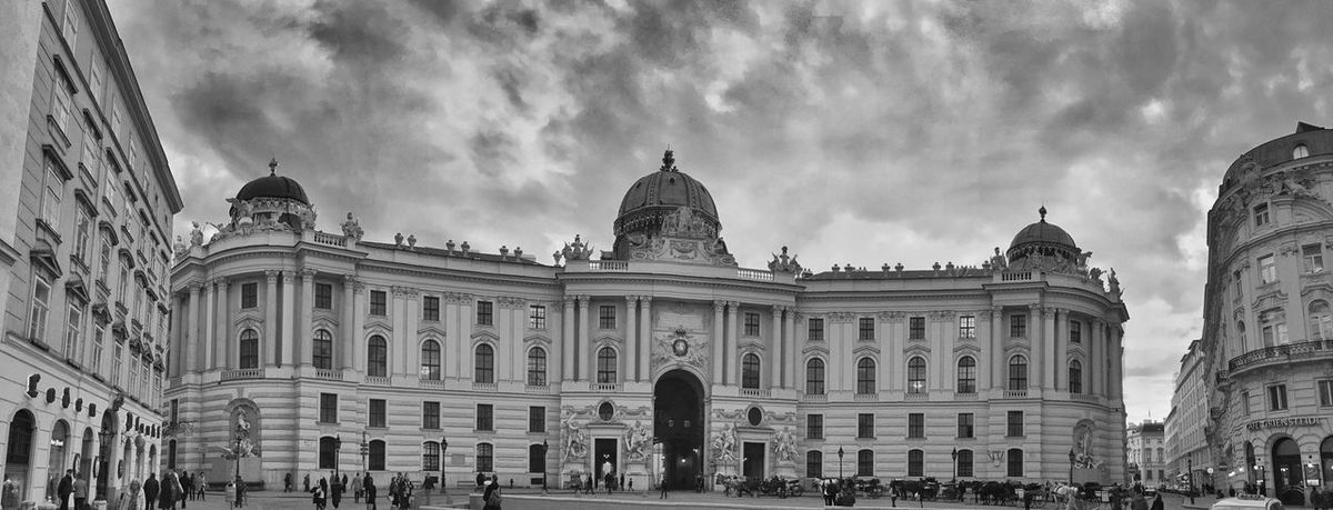 Sky Building Exterior Architecture Built Structure Travel Destinations Low Angle View Cloud - Sky Government Outdoors Dome Day No People Hofburg Blackandwhite Black And White