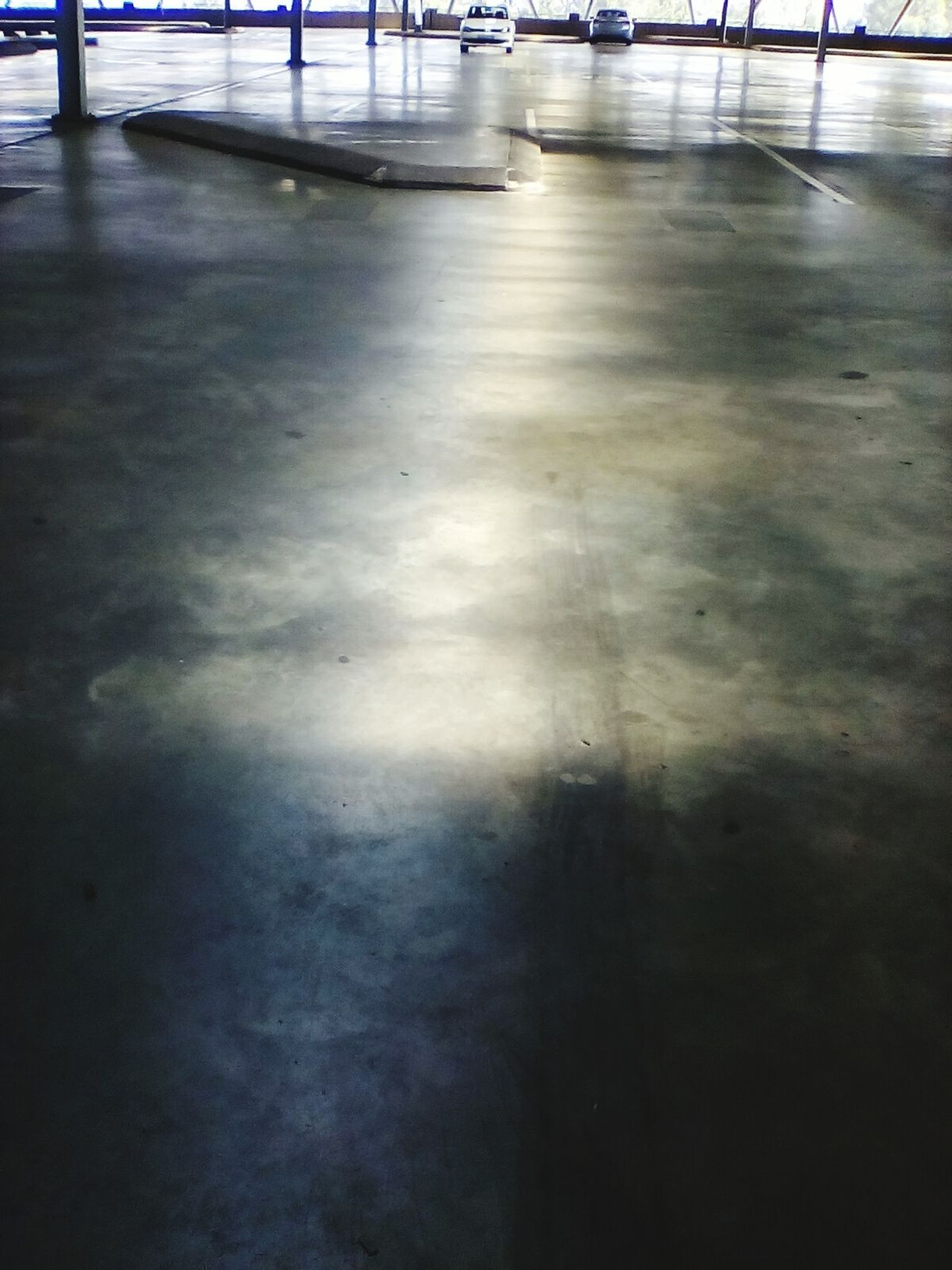 Light And Shadow Parking Lot Concrete Floor