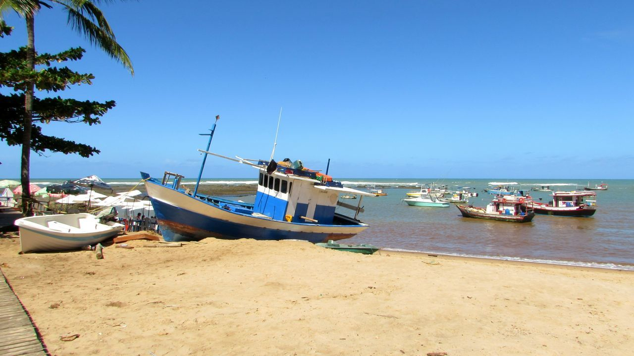 Beach Travel Traveling Vacation Boat Sea Sun Blue Sky Bahia Praia Do Forte, Bahia - Brasil Hello World Colour Of Life