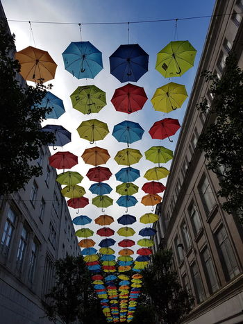 Umbrellastreet Hanging Umbrellas Liverpool England Multi Colored Low Angle View Outdoors City Street