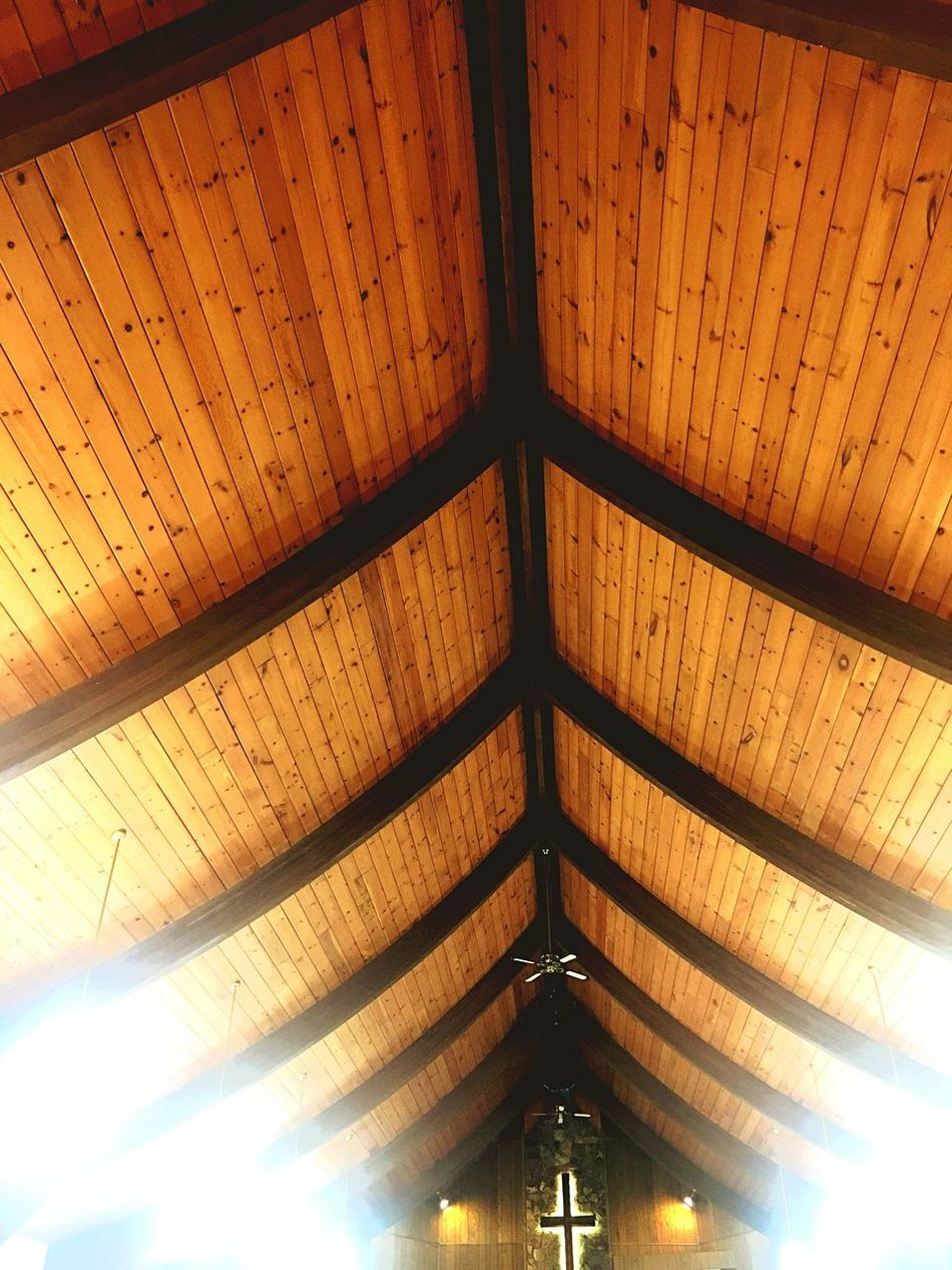 Ceiling Low Angle View Pattern Indoors  No People Wood - Material Illuminated Architecture Electricity  Roof Beam Architectural Design Day Church Holy