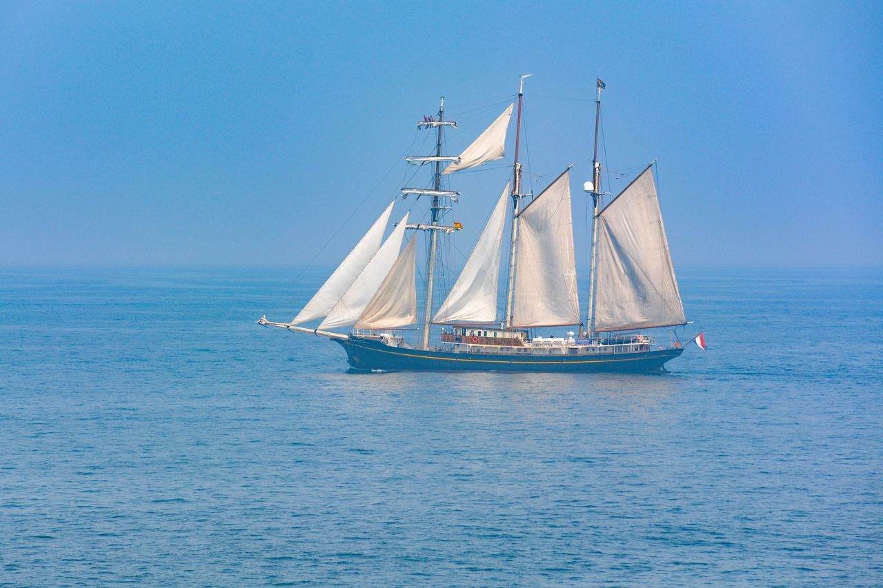 Tranquility Enjoying Life Taking Photos Relaxing Beautiful History Blue Sky Ship Sailboat Travelling Traveling Transportation Adventure Race Starting A Trip Lifestyles Sailing Travel Photography People Of The Oceans Taking Photos Sea Sea And Sky Relaxing SPAIN Dreaming