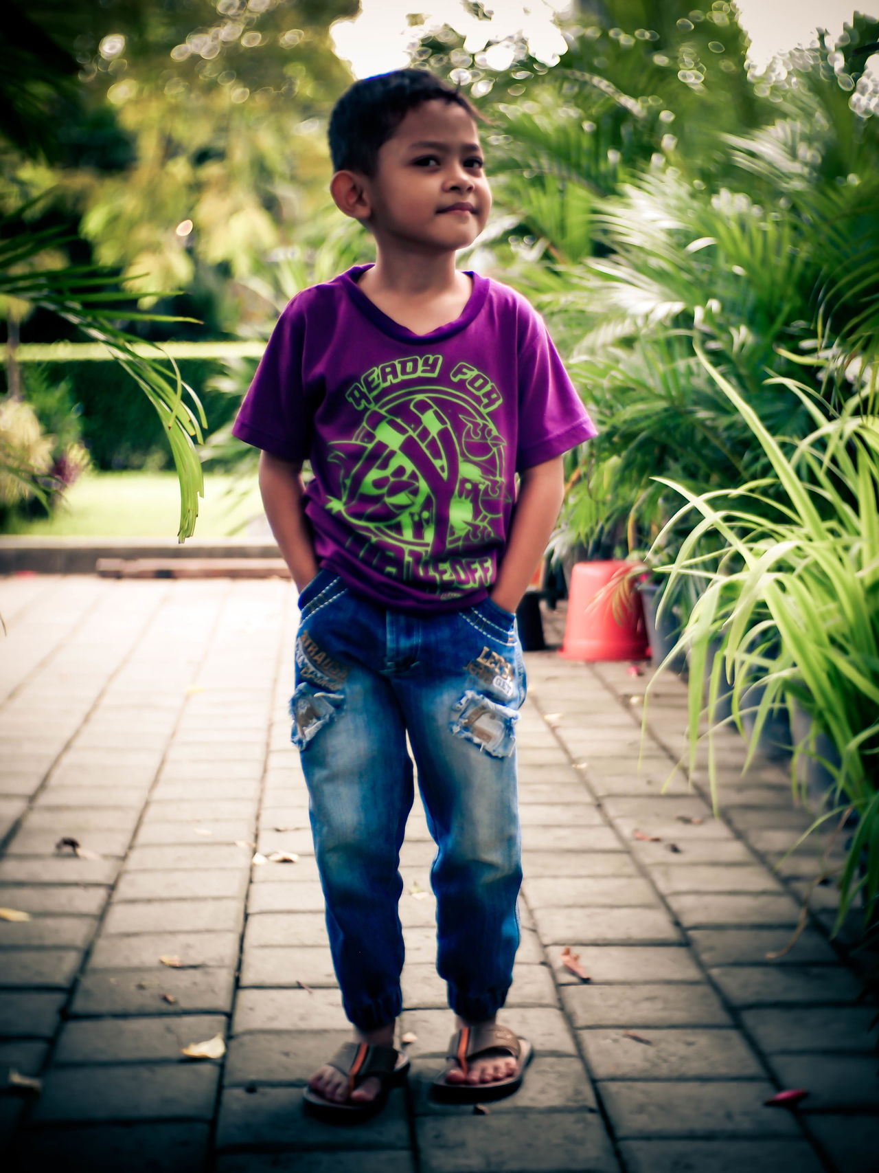 Child Children Only Childhood One Person One Boy Only Full Length Casual Clothing People Girls Elementary Age Boys Front View Standing Outdoors Day Real People Portrait Leisure Activity Fashion