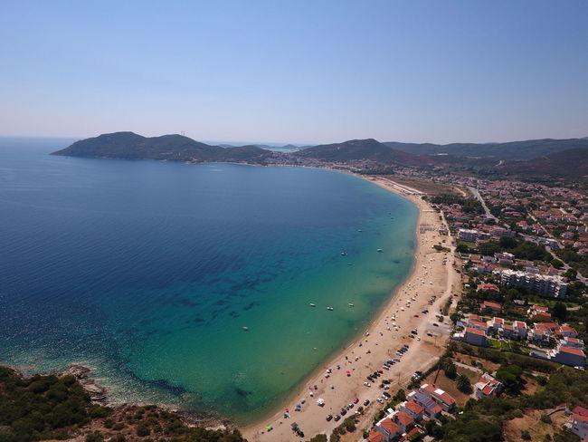A Bird's Eye View Antik Beach Beauty In Nature Blue Clear Sky Drohne Fillipo Greece Greece, Loutraki Kirche Sand Sea Stausee Water First Eyeem Photo