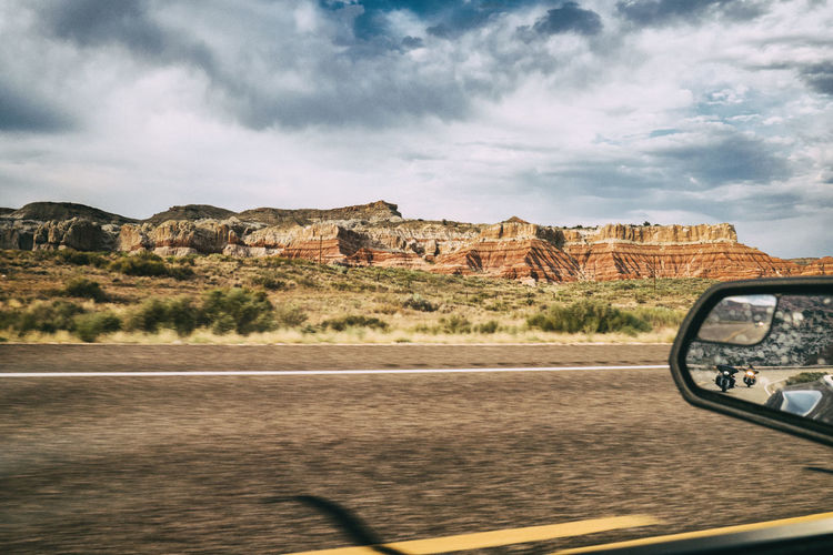 motorcylces in mirror Arizona Canyons Driving Easy Rider Freedom Mirror Motorcycle Rearview Mirror Road Bikes Car Cloud - Sky Easy Freeway Highway Just Driving Land Vehicle Landscape Motorbike Outdoors Road Sky The West Transportation Untroubled