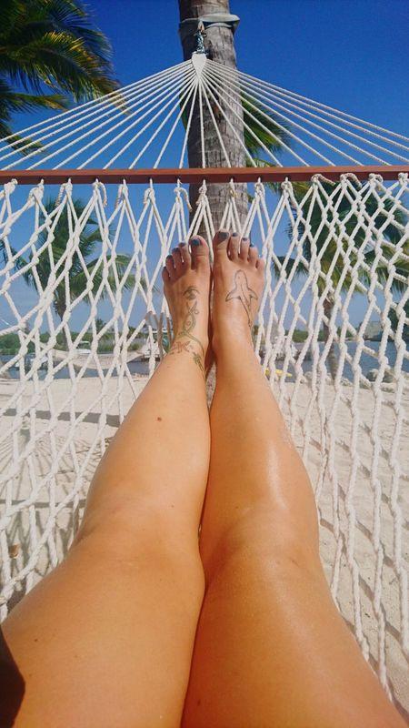 Hammock Living Barefoot Personal Perspective Summer Outdoors Vacations Relaxation Human Foot Tattoos Tattoogirl Foottattoos Hammock Hammocktime Hammock Life Feet Caribbean Caribbean Life