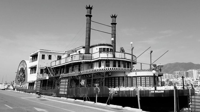 Mississippi steam boat USS Willow in Benalmadena harbour Spain Architecture Blackandwhite Blackandwhite Photography Black And White Sea Water First Eyeem Photo New On Eyeem Beauty In Nature Málaga Spain ❤ Live For The Story Sea And Sky Benalmádena, Malaga, Spain Industry Steam Steamship Old Antique Public Transportation The Great Outdoors - 2017 EyeEm Awards No People Sky Day Outdoors SPAIN The Architect - 2017 EyeEm Awards