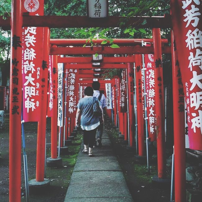 Rear View Spirituality Religion Place Of Worship Full Length Text Non-western Script Lifestyles Torii Gate Lantern Culture Casual Clothing Temple - Building Long Narrow Day The Way Forward Red Shrine EyeEm Best Shots Open Edit Outdoors Kisibosindou