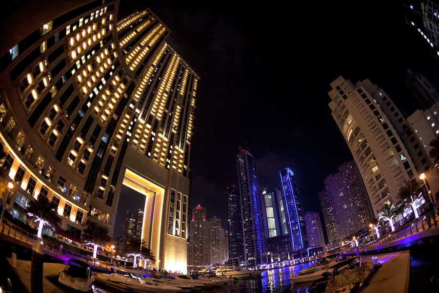 Dubai Marina 09 Arquitecture Dubai Dubai Marina Modern Building Exterior City Cityscape Contemporary Architecture Fish Eye Lens Illuminated Modern Night Outdoors Skyscraper Tourism Tourist Attractions Travel Destinations Urban Skyline