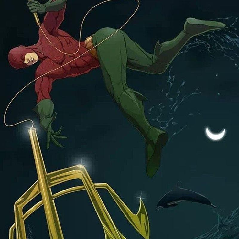 Dccomics Marvelcomics Mashup Comicbook comics daredevil aquaman kingofthesea superhero trident poseidon