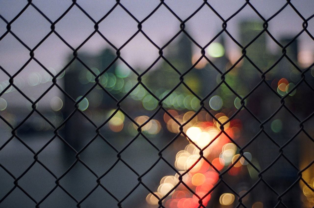 Architecture Bokeh Bokeh Lights Brooklyn Bridge / New York Chainlink Fence Cityscapes Fence Film Photography Focus On Foreground Forbidden Manhattan Manhattan Bridge New York City Night Protection Safety Security Skyline Skyscraper Urban