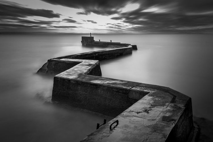 Zig Zag Architecture Beauty In Nature Blackandwhite Built Structure Cloud - Sky Day Groyne Horizon Over Water Long Exposure Nature No People Outdoors Scenics Sea Sky Tranquility Water