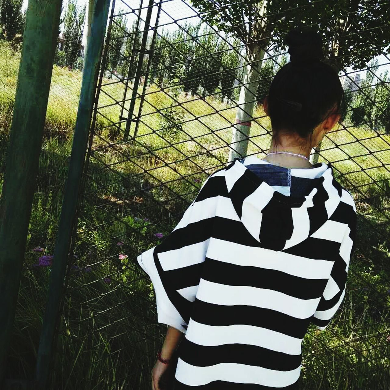 rear view, striped, real people, tree, one person, leisure activity, casual clothing, day, lifestyles, standing, outdoors, nature, growth, women, grass, beauty in nature, mammal, young adult, sky, people
