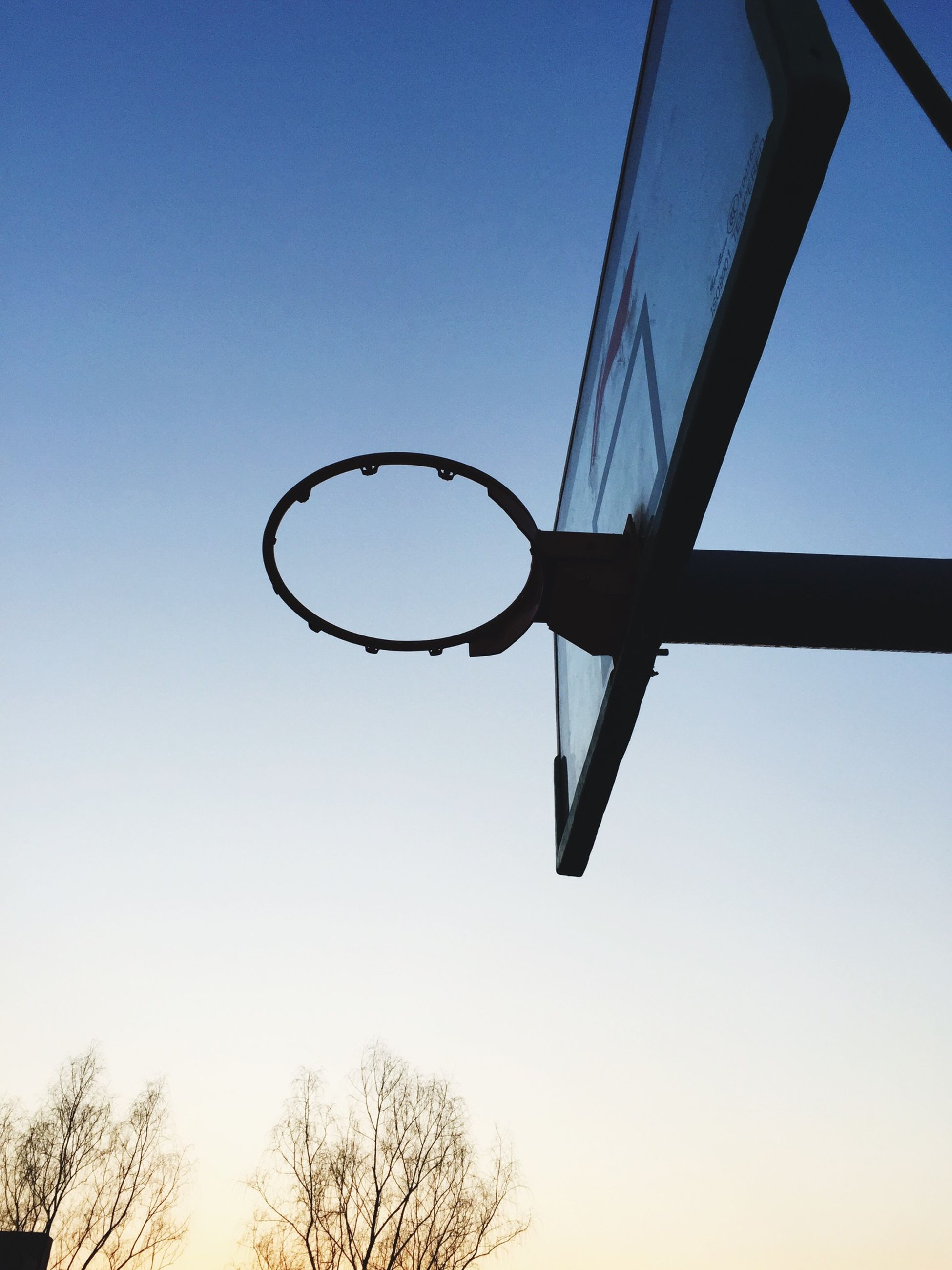 low angle view, clear sky, blue, silhouette, tree, basketball hoop, copy space, no people, metal, bare tree, sky, outdoors, day, street light, transportation, dusk, circle, branch, protection, hanging