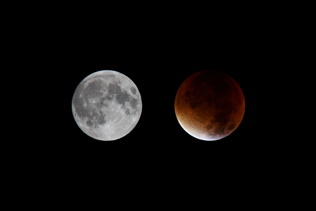 Supermoon and lunar eclipse, September 27, 2015, Würzburg, Germany. Supermoon shot with a Canon 70D, f/11, ISO 100, 1/250, 420 mm (Canon 300 mm + 1.4x Extender) at 21:25. Lunar eclipse shot with a Canon 70D, f/5.6, ISO 200, 1.3 sec, 420 mm (Canon 300 mm + 1.4x Extender) at 04:17. Moon Eclipse Supermoon Moon Eclipse Bloodmoon Red Moon Night