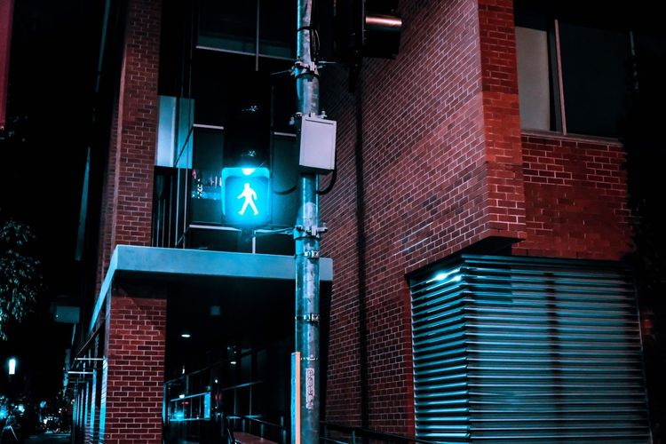 Just go Illuminated Night Building Exterior Architecture Built Structure Low Angle View Outdoors Guidance No People Road Sign City