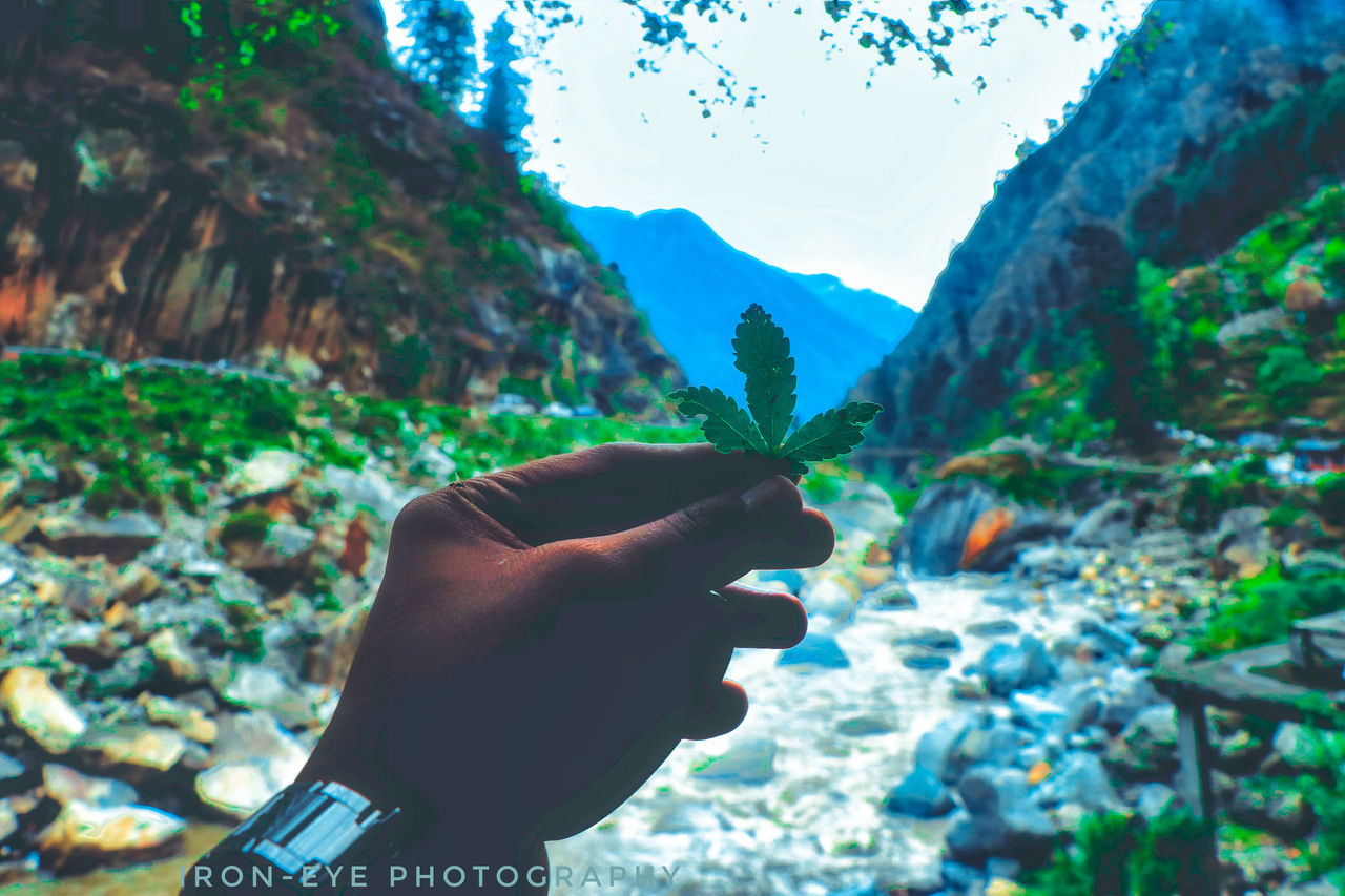 human hand, human finger, mountain, human body part, one person, real people, nature, gesturing, day, outdoors, focus on foreground, tree, beauty in nature, sky, close-up, lifestyles, men, people