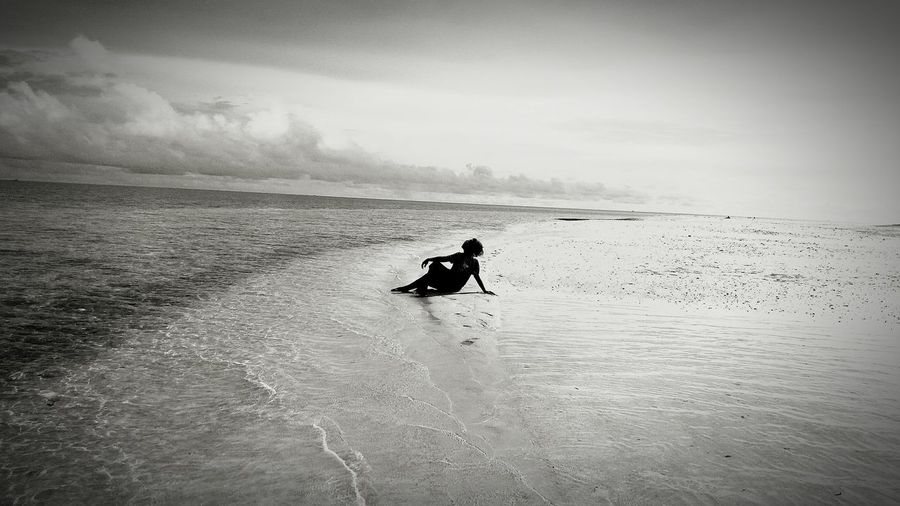 Monochrome Photography Black And White Stranded Tired Resting Alone Beach Sea Sand Sky Island Lakawon Mobile Photography Eyeem Philippines Women Around The World The Great Outdoors - 2017 EyeEm Awards Live For The Story BYOPaper! Been There.