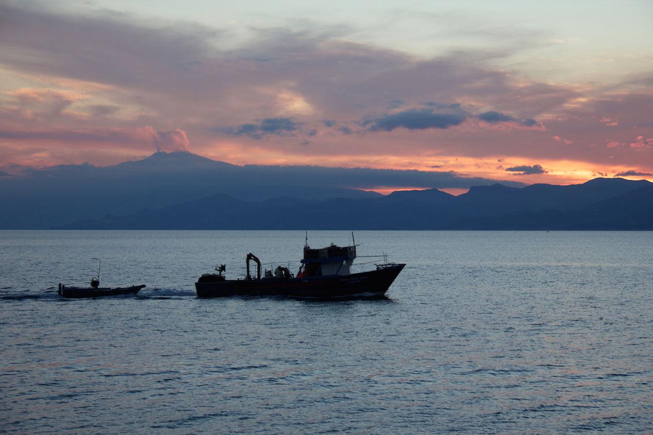 Fishing Boat Stretto Di Messina Sunset Sea Seaside Reggio Di Calabria EyeEm Best Shots Sky Clouds And Sky