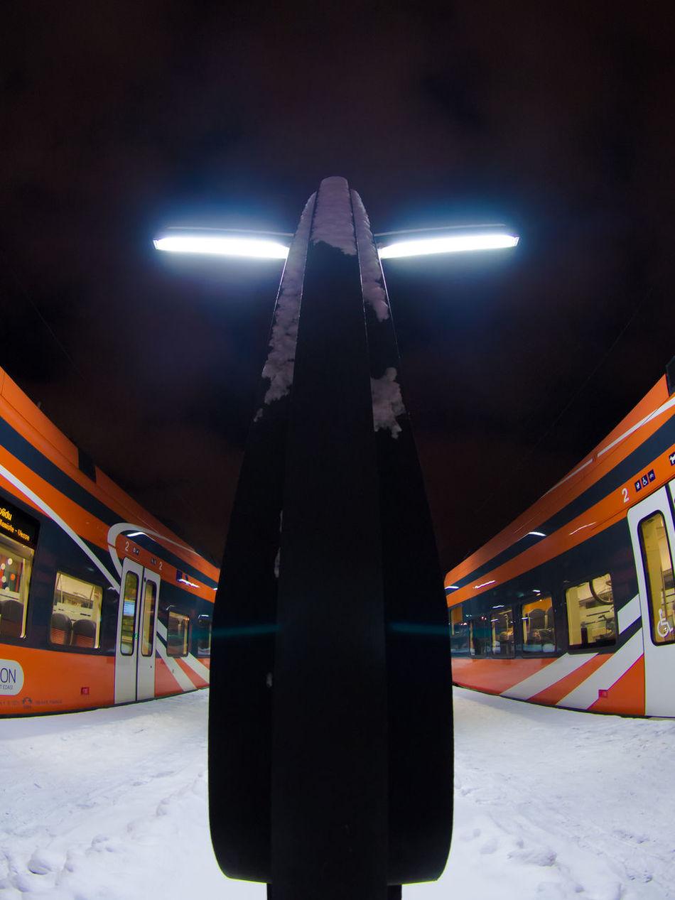 Architecture Balti Jaam Built Structure Business Finance And Industry Elron Fisheye Illuminated Night Night Lights Nightphotography No People Outdoors Stadler Tallinn Train Station Trains Trainstation Winter Winter