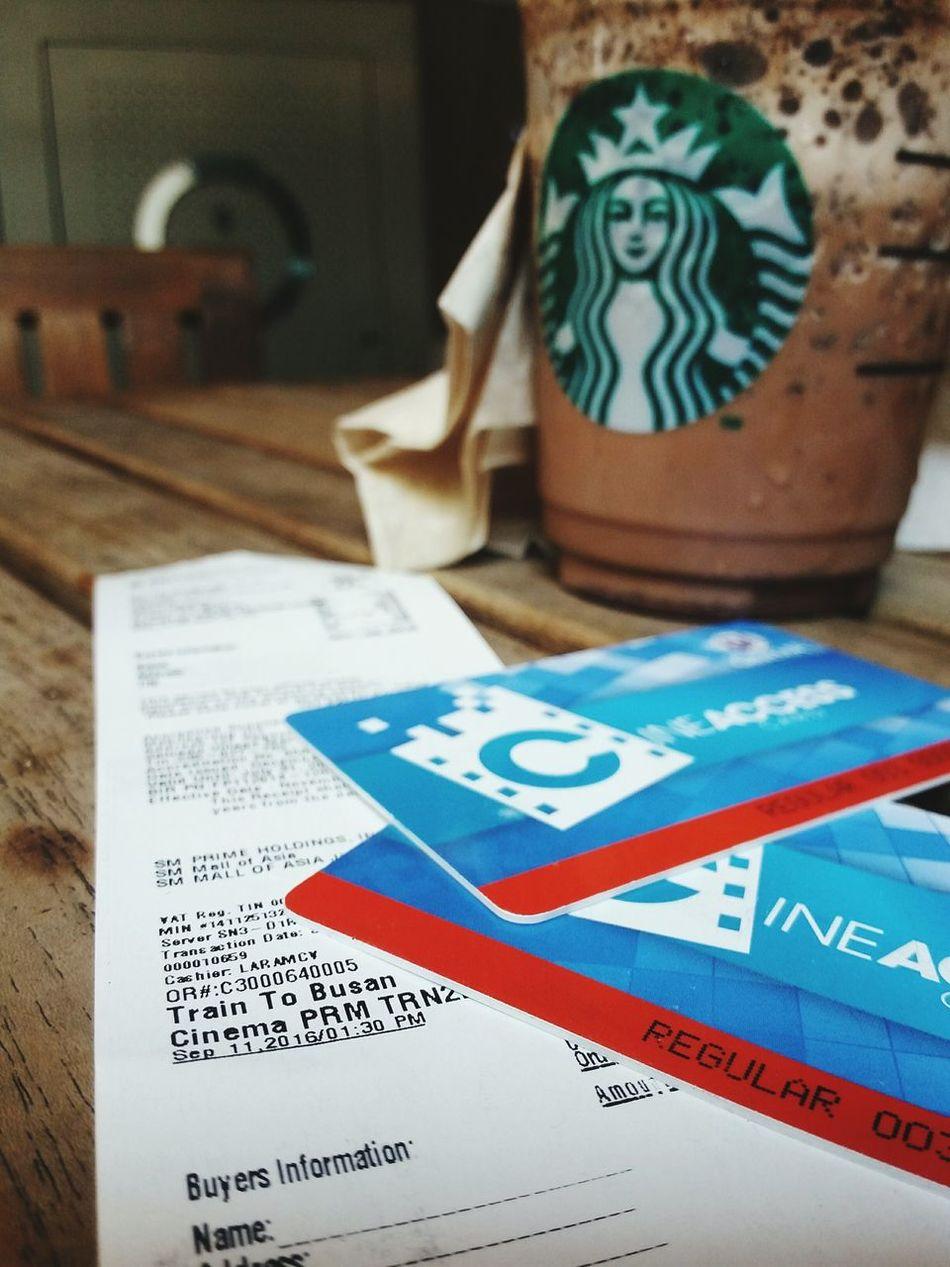 Movie date Close-up Day Paper No People Indoors  Date Night Starbucks Coffee Frappucino Darkmocha