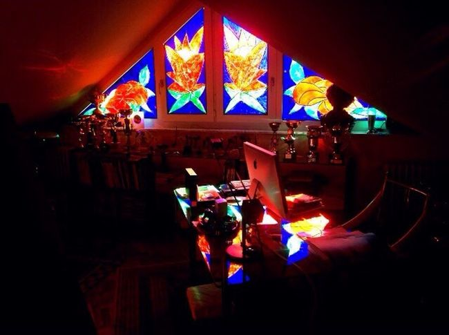 Backlighting Colourful Window Reflections Arts Culture And Entertainment Indoors  Stained Glass Window Summer