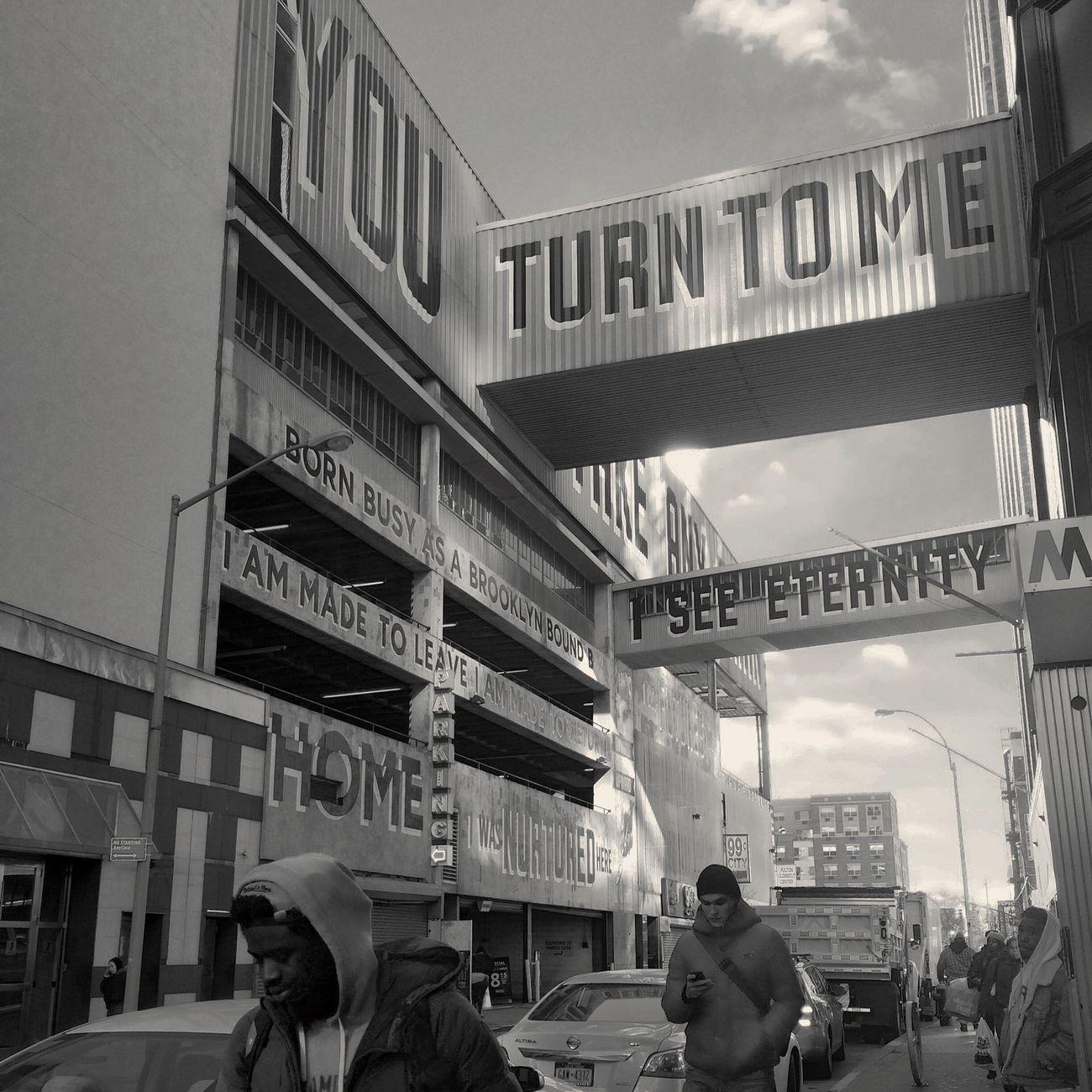 Streetart in Downtown Brooklyn Public Art Façade Brooklyn NYC Blackandwhite Black And White Black & White Black&white