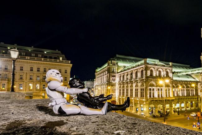 Buddys on Tour in Vienna Buddys On Tour City Creativity Night Lights Nightphotography Sculpture Stormtrooper Street Vienna Calling