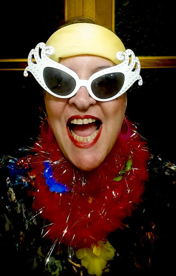 Big Glasses Carmem Miranda Look Carnaval Carnival Spirit Close-up Funny Picture Funny Women Hapiness★ Hapinness Multi Colored Portrait White Cat Glasses