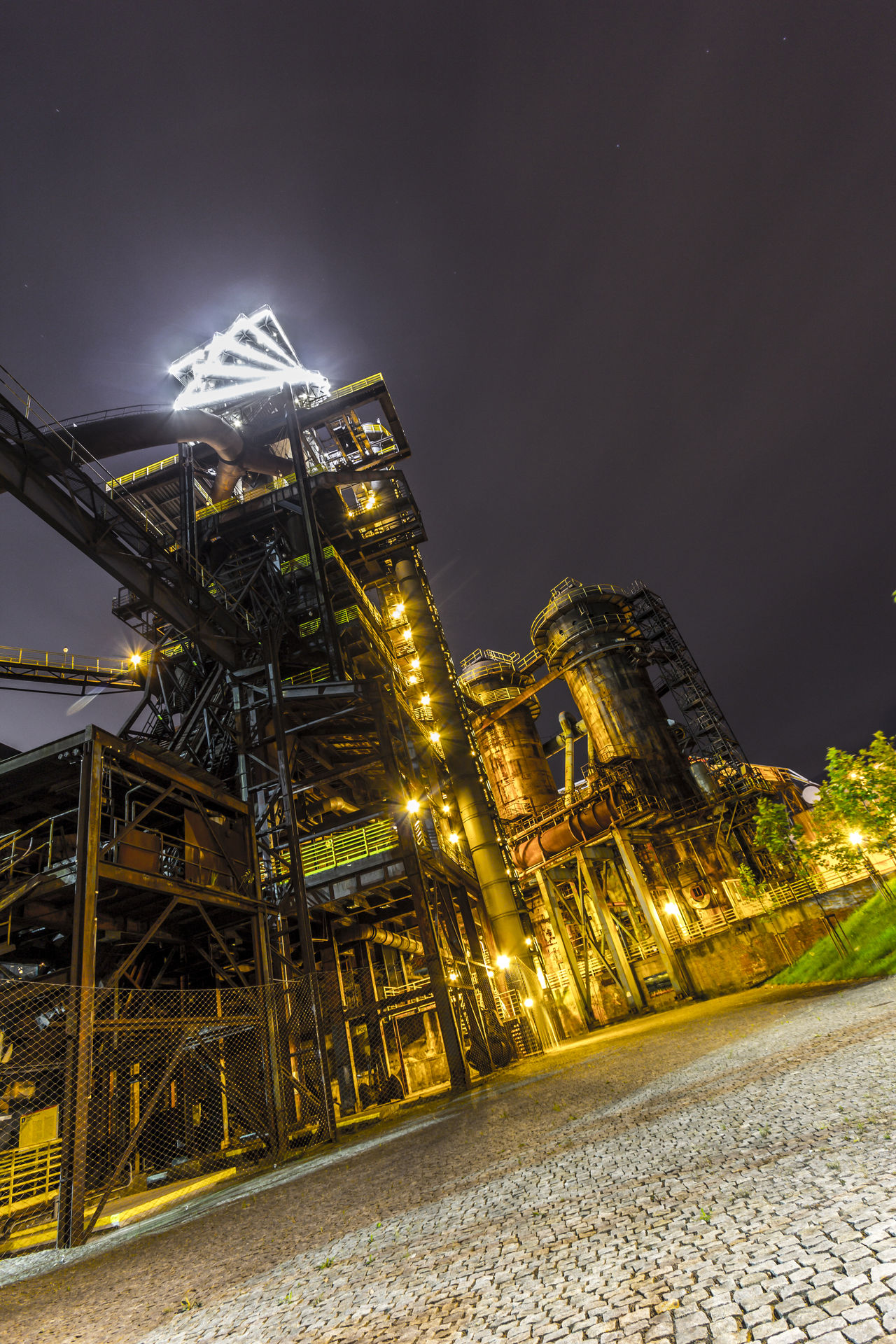Architecture Building Exterior Built Structure Business Finance And Industry City Cityscape Coalmine Dolni Oblast Vitkovice Factory Night View Futuristic Igniting Illuminated Industry In City Industry Vs Nature Long Exposure Night Night Sky No People Outdoors Steel Factory Vitokovice