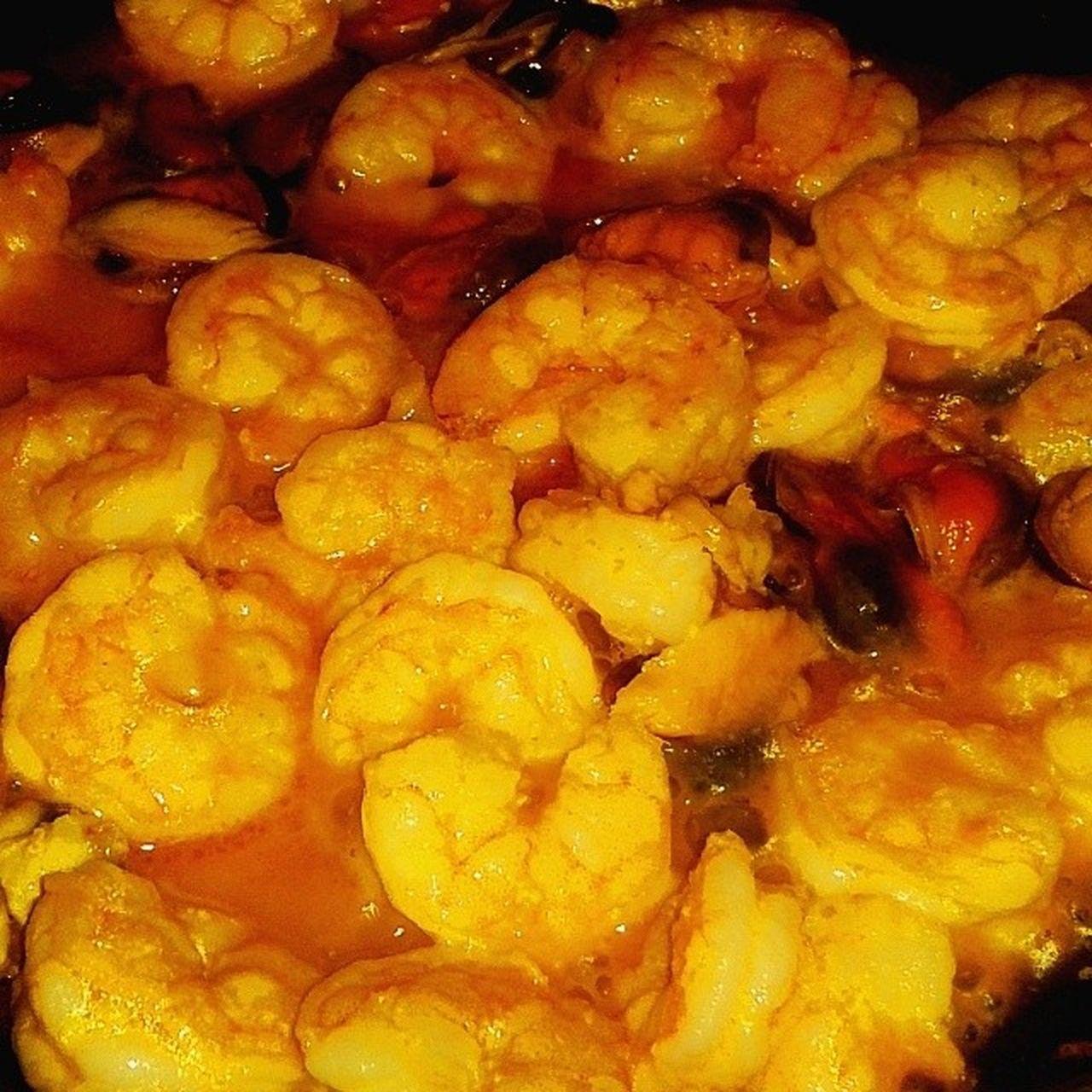 Camarones en salsa de Mejillones al ajillo. Shrimps Shrimp! Shrimping Camarones Food Food Porn