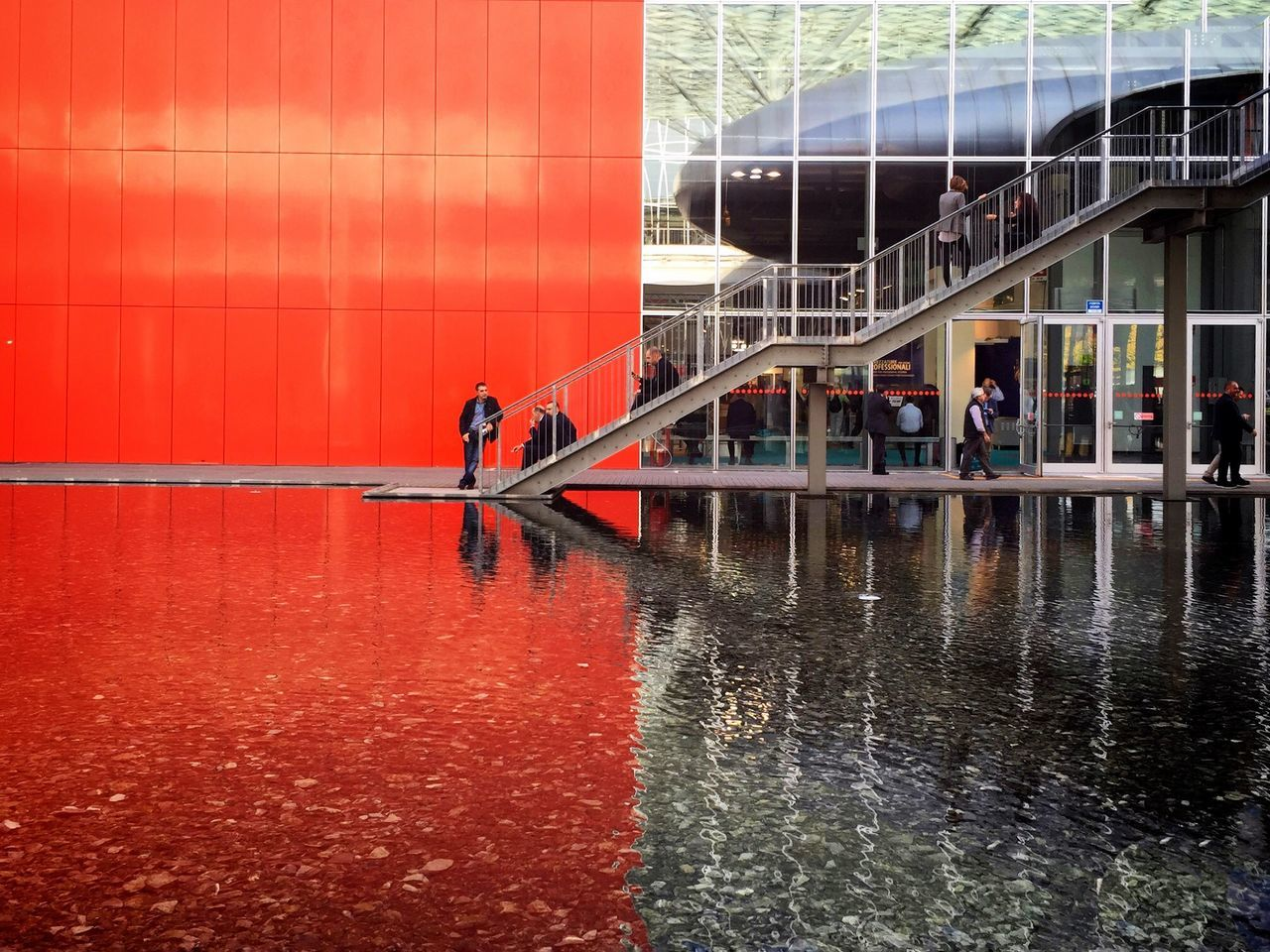 Architecture Red Fieramilano Water Reflections From My Point Of View IPhoneography Capture The Moment Coloursplash Red And Grey IPS2015Color IPS2015Water IPS2015Architecture Better Look Twice Colors and patterns Minimalist Architecture