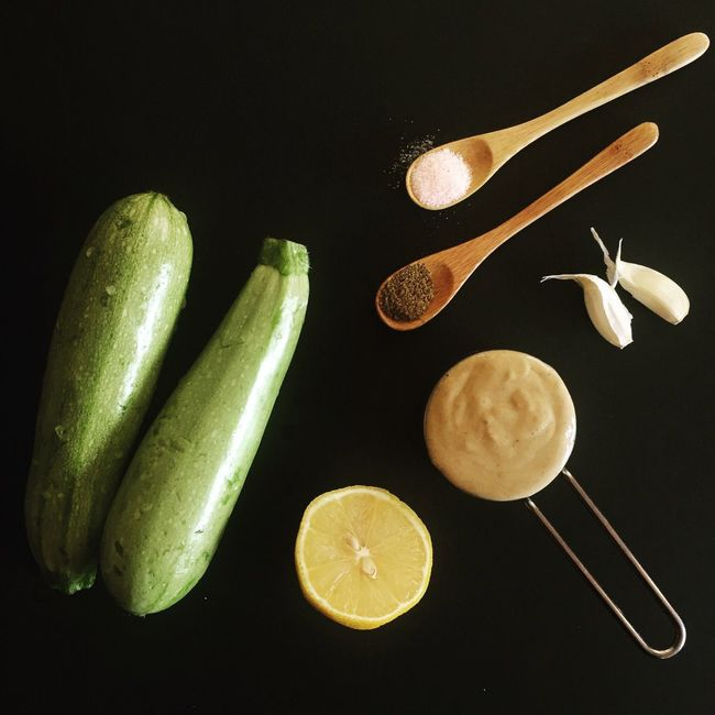 Ingredients View From Above Recipe Zucchini Courgette Hummus Houmous Zucchini Hummus Tahini Lemon Garlic Wooden Spoon