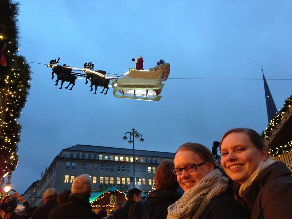 Weihnachtsmarkt am Rathausplatz Hamburg Architecture Blue Bonding Chirstmasmarket Clear Sky Friendship Hamburg Headshot In Front Of Large Group Of People Leisure Activity Lifestyles Outdoors Person Sky The Culture Of The Holidays Togetherness What Who Where