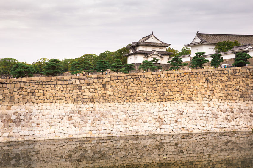 Architecture Building Exterior Built Structure Castle Cloud - Sky Cultures Day Old-fashioned Osaka Castle Outdoors Sky Tradition Tree Walkway Wall - Building Feature
