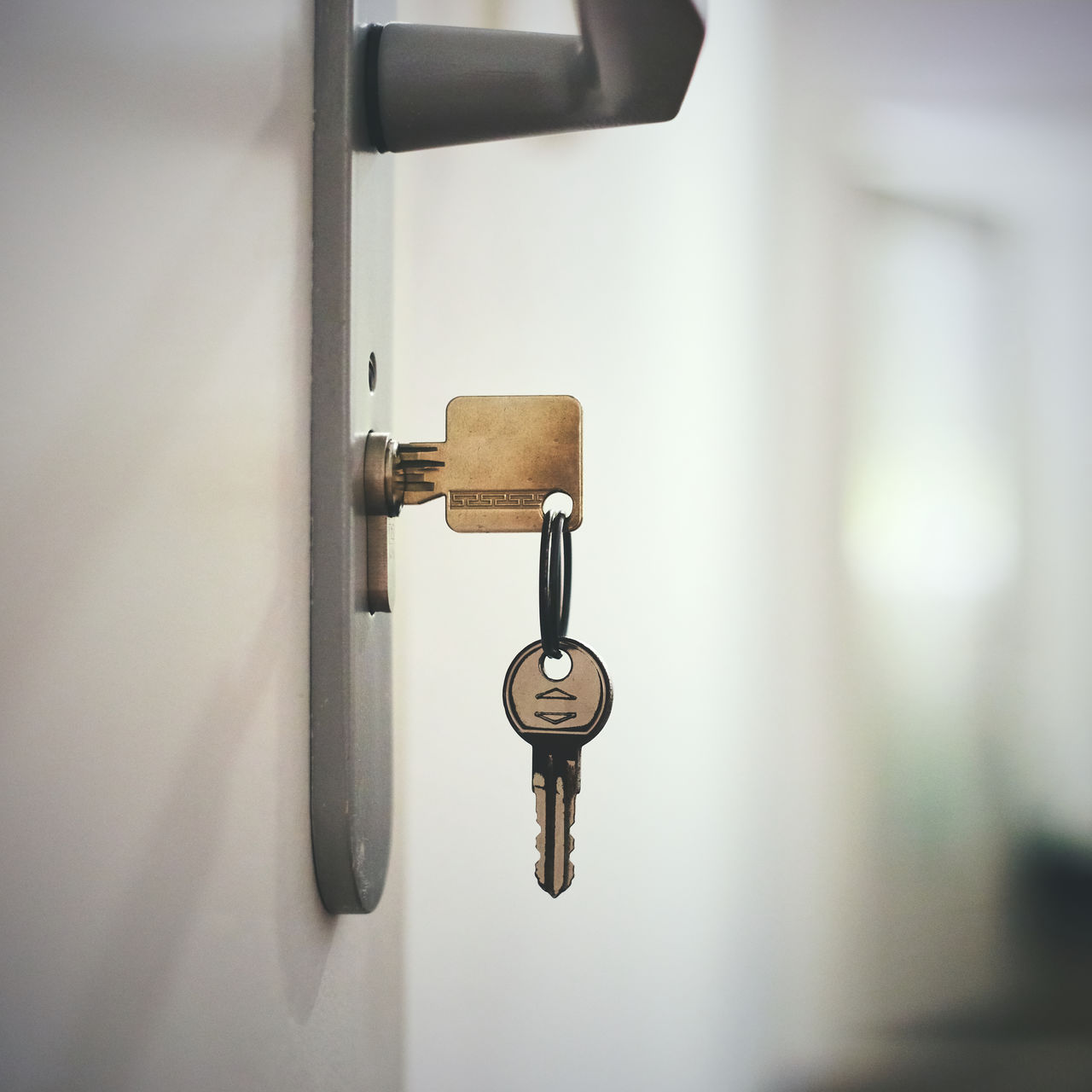 door, security, lock, close-up, metal, key, hanging, safety, focus on foreground, key ring, protection, no people, latch, indoors, day, prison