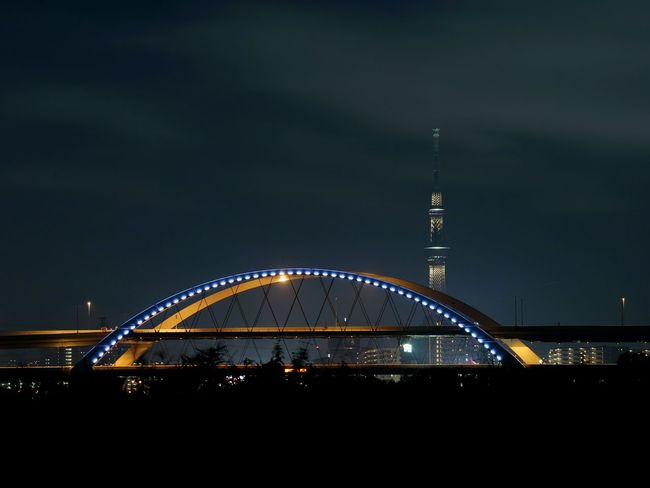 Illuminated Tower Light Japan Night View Night Skytree Tokyoskytree Lighting Bridge Nightscape