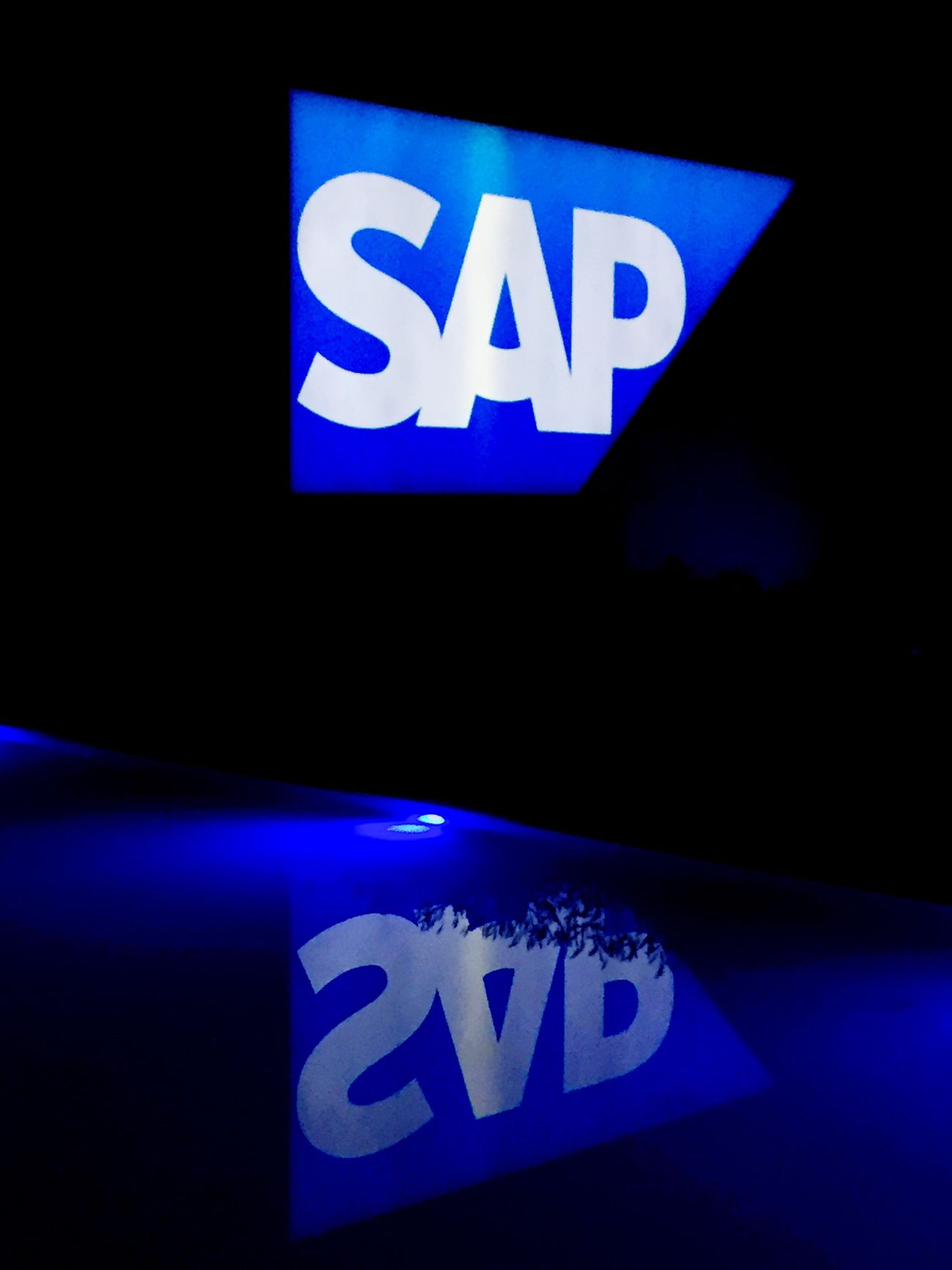 SAP logo with reflexions in the water, below. Sap Logo Walldorf Badenwürttemberg Germany Company Corporation Course Quality Management Normanrupp