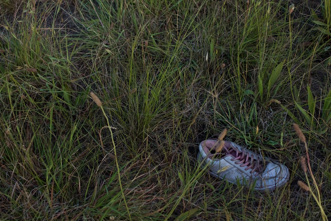 Abandoned Abandoned Shoe Blue Shoes Close-up Grass Grasslands Green Growth Lost Shoe Nature No People Outdoors Shoe