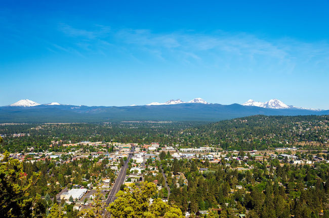 View of Bend and part of the Cascade Mountain Range in Central Oregon Beauty Bend Central Oregon City Colorful Deschutes Deschutesriver  Forest Grass Landscape Mountain Nature Oregon Outdoors Panoramic Park Rushing Sky Tourism Town Travel Tree United States View Wood
