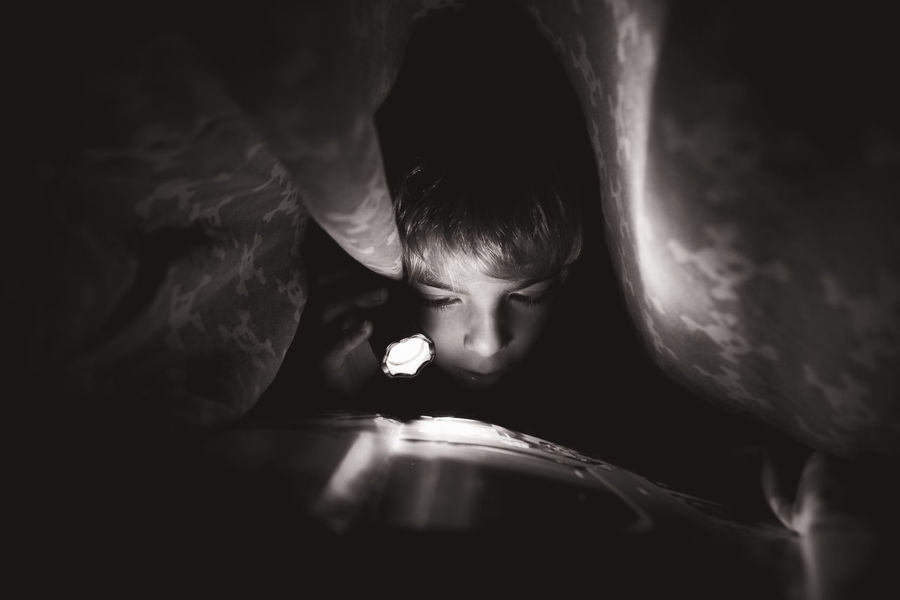Bed Bedroom Black Black And White Child Dark Illuminated Lamp Leisure Activity Night Photo Photography Pocket Lamp Reading Reading A Book Secret Under The Sheets My Favorite Place