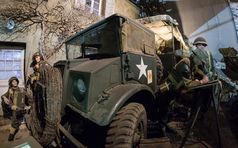Overlord Museum, Colleville-sur-mer, Normandy, France, July 2017 D-Day II War World. Overlord Museum Soldiers Exhibition Exhibits Exposure Land Vehicle Mode Of Transport Museum Omaha Beach Overlord Transportation