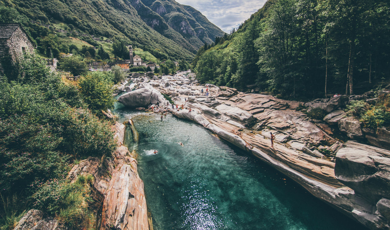 """Another """"valle"""" in Switzerland/Italy Beauty In Nature Day Green Color Growth High Angle View Italy Landscape Mountain Nature Outdoors River Riverside Scenics Swim Switzerland Tranquil Scene Tranquility Tree Turquoise Turquoise Water Valle Verzasca Verzasca Valley Water"""