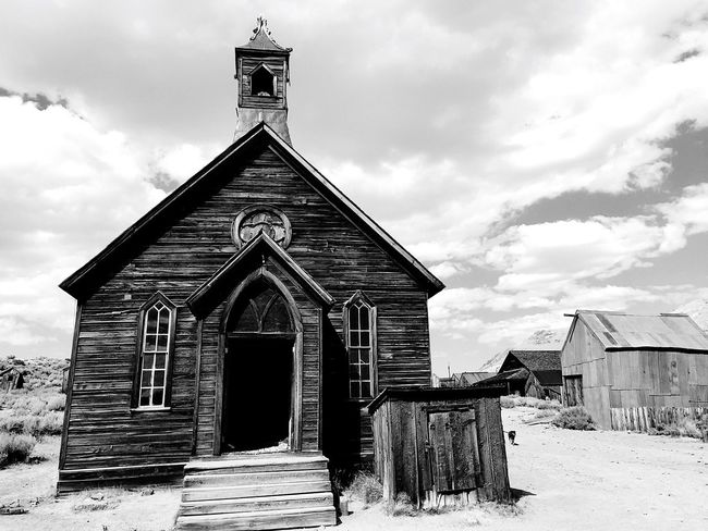 Bodie Ghost Town Church Blackandwhite I Phone Photography Architecture Rural Scene Monochrome Photography