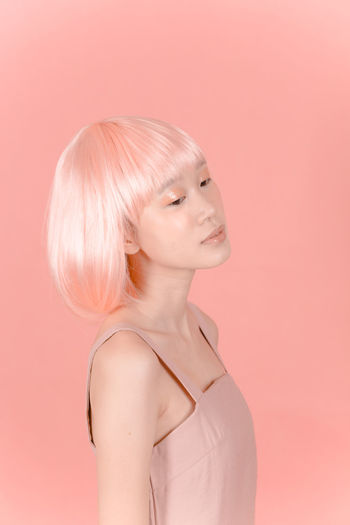 lab 3 Portrait Photography Portrait Portrait Of A Woman Portraits Studio Shot Studio Photography Studio Art Fine Art Photography Futuristic Pink Color Salmon Colored Wig Makeup Make-up Faces Of EyeEm Love Yourself
