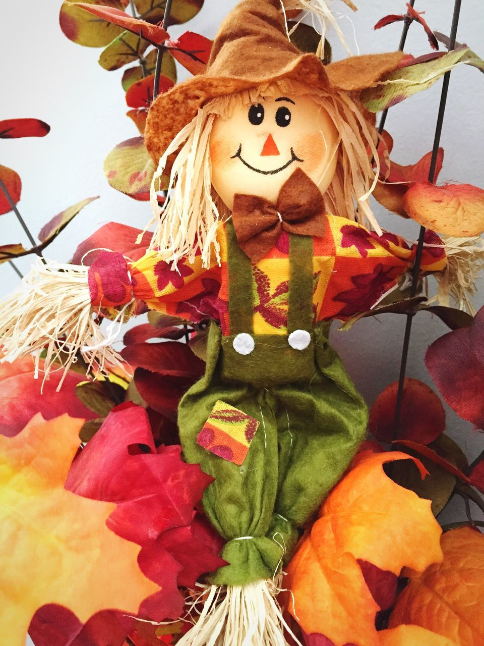 human representation, art and craft, scarecrow, creativity, celebration, no people, day, close-up, halloween, low angle view, leaf, anthropomorphic face, indoors, jack o lantern, clown