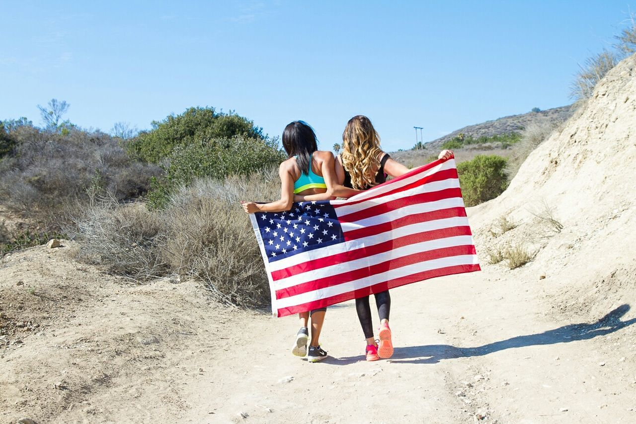 Girls Outdoors Americana American Flag Patriotic Fitness 4th Of July Laborday Memorial Day TwentySomething