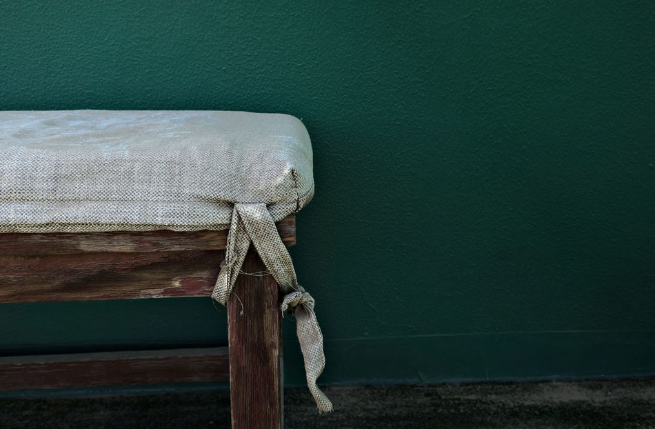 Abandoned Places Bench Close-up Copy Space Day Deserted EyeEmNewHere Fabric Fabric Texture Green Wall Knot Light And Shadow No People Shabby Chic Tennis Tenniscourt Textured  Tranquil Scene Tranquility Vintage Wood - Material Wooden Bench