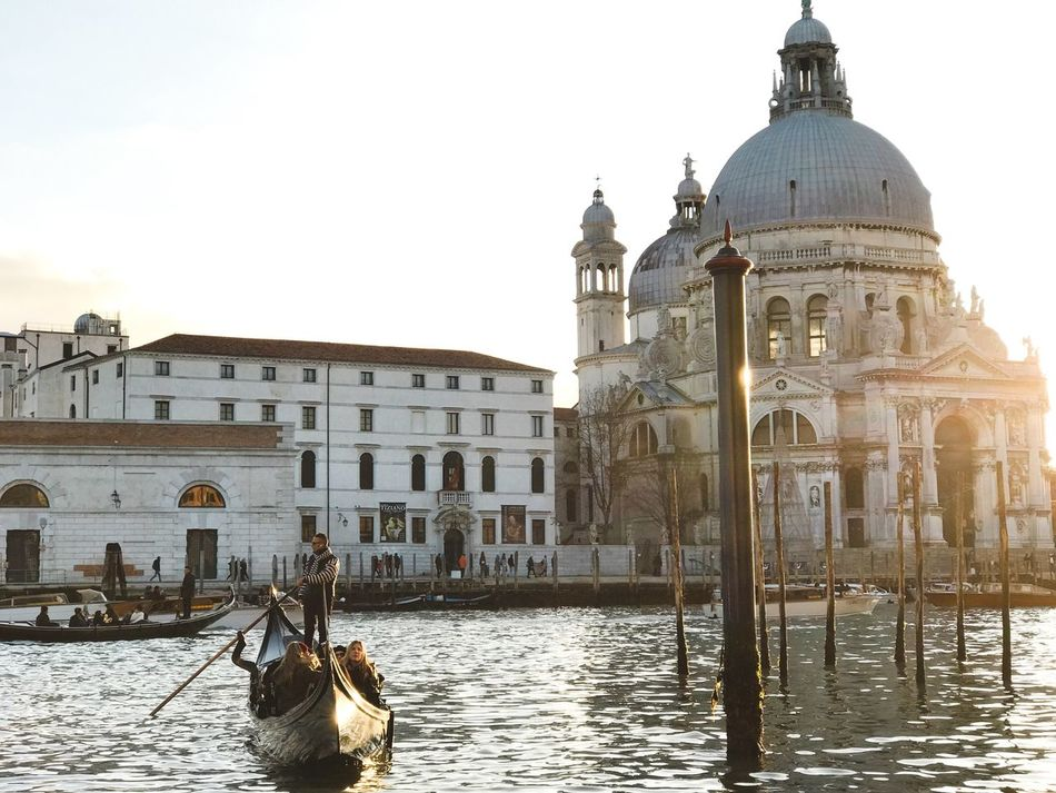 Cultures Gondola - Traditional Boat Travel Destinations Travel Canal Architecture Tourism Building Exterior Place Of Worship Built Structure Gondolier Sunset Grand Canal Outdoors Sky Nautical Vessel Dome Water Day People